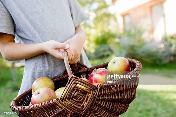 Girl holding basket of apples