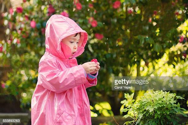 Girl holding camelia flower