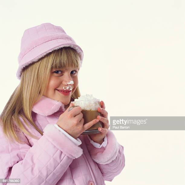 Girl Holding Cup of Hot Chocolate