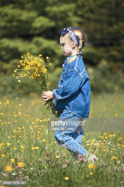 girl (6-7) holding flowers in field, side view - david ramos fotografías e imágenes de stock