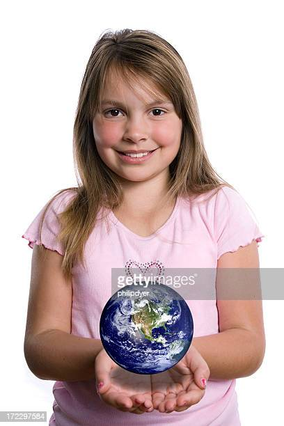 girl holding globe - curvy girls stock photos and pictures