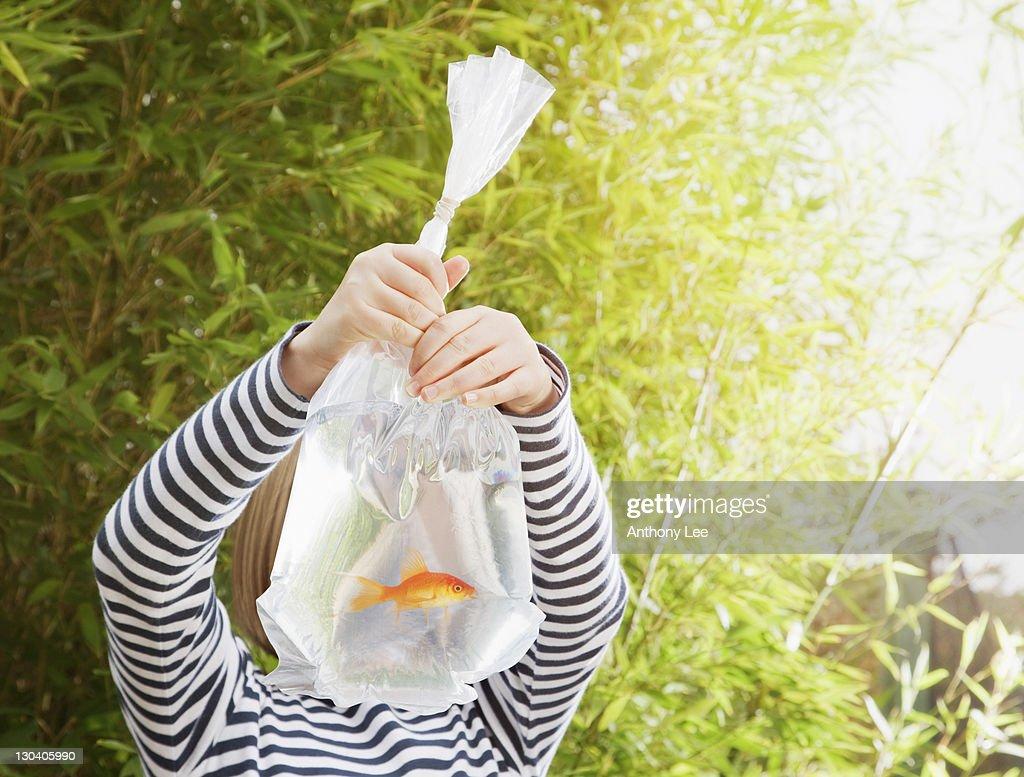 Girl holding goldfish in plastic bag : Foto de stock