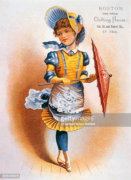 Girl Holding Parasol Boston One Price Clothing House Trade Card circa 1890