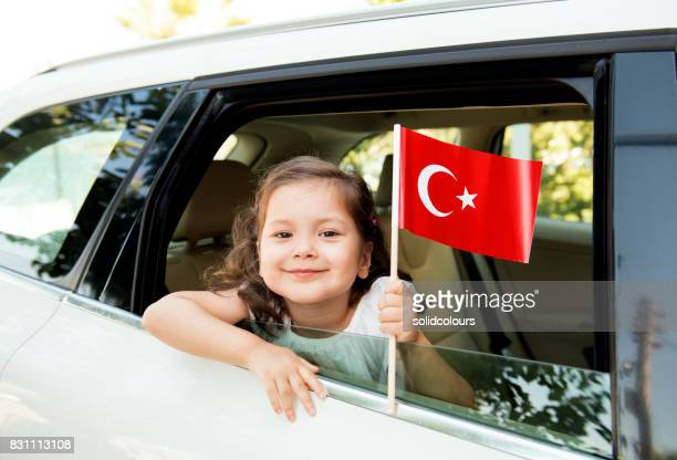 Girl Holding Turkish Flag