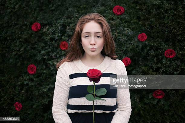 girl holding valentine's day rose - long stem flowers stock pictures, royalty-free photos & images