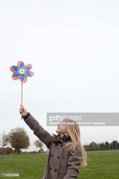 Girl holding wind wheel
