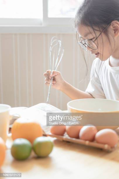 Girl Holding Wire Whisk While Reading Book At Home