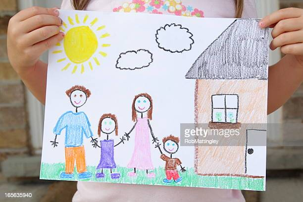 Girl Holds Drawing of Her Family