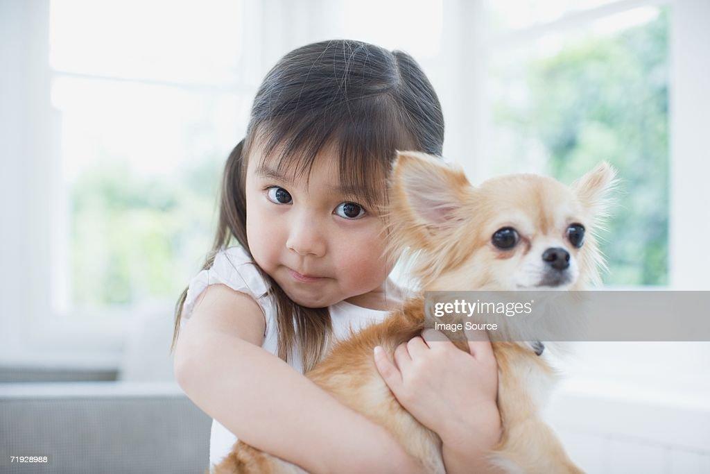 Girl hugging a chihuahua : Stock Photo