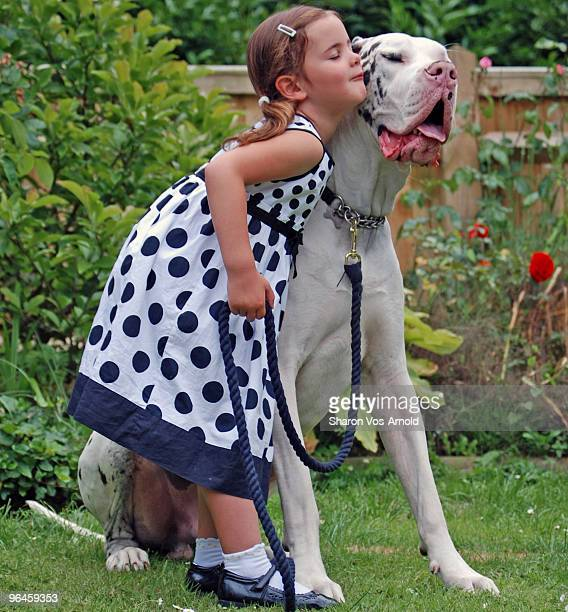 Girl hugging her black & white Great Dane
