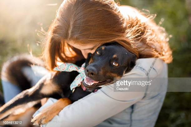 girl hugging her dog - pet equipment stock pictures, royalty-free photos & images