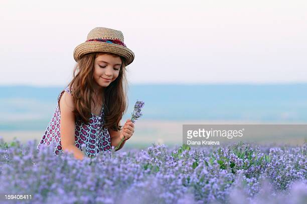 Girl in a field of lavender