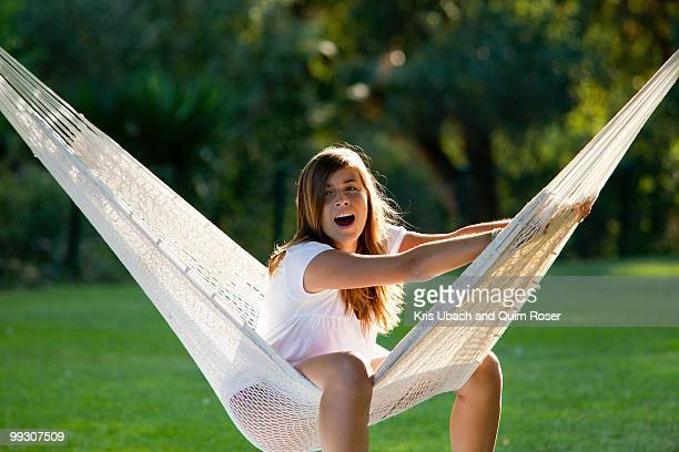 girl in a hammock - girl with legs spread stock photos and pictures