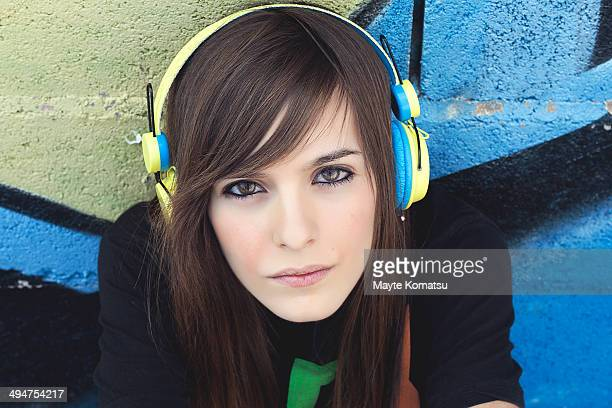 Girl in a headphones
