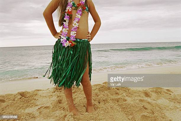 Girl in a hula skirt
