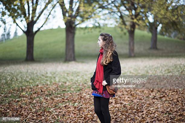 girl in a parc at fall