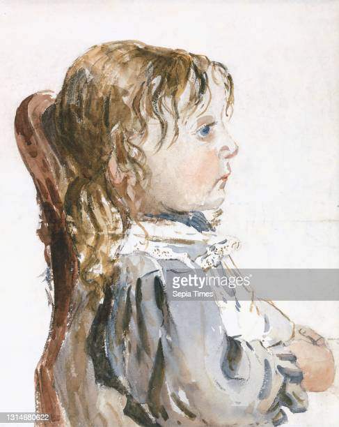 Girl in a Pinafore, David Cox, 1783–1859, British, between 1840 and 1849, Watercolor and black chalk on medium, slightly textured, cream wove paper,...