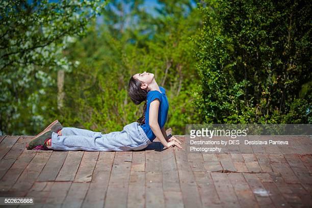 Girl in a yoga meditation pose