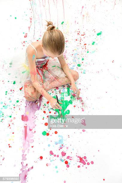 girl in ballerina dress, messy painting - stain test stock pictures, royalty-free photos & images