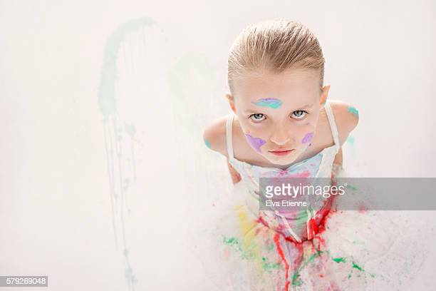 girl in ballet dress, covered in paint - stain test stock pictures, royalty-free photos & images