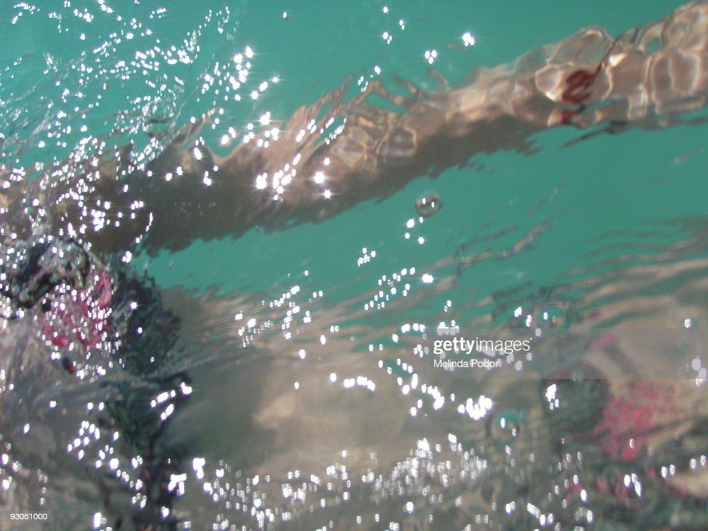 Girl in bikini swimming at Kailua Beach, Oahu : Stock Photo