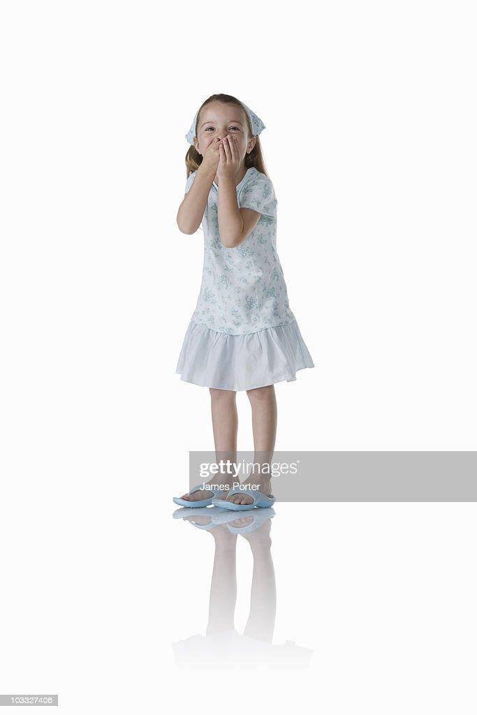 Girl in Blue Dress on White : Stock Photo