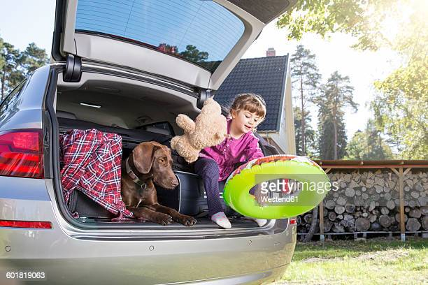 Girl in car boot with dog and teddy bear