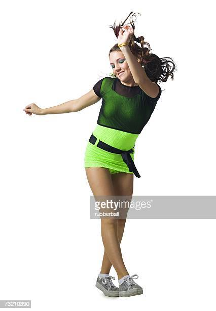girl in costume dancing - 80s rock music stock photos and pictures