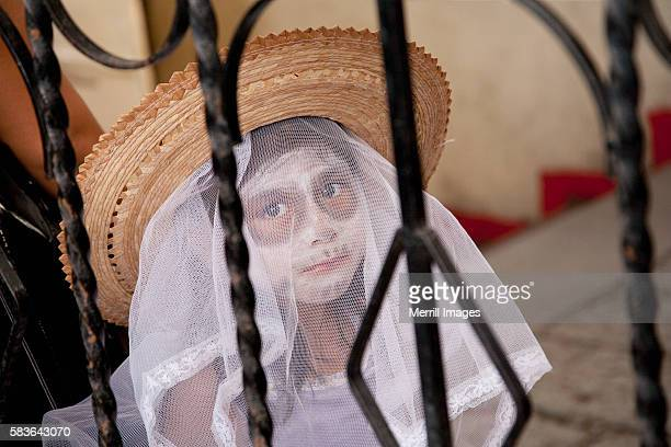 Girl in costume for Day of the Dead, Oaxaca, Mexico