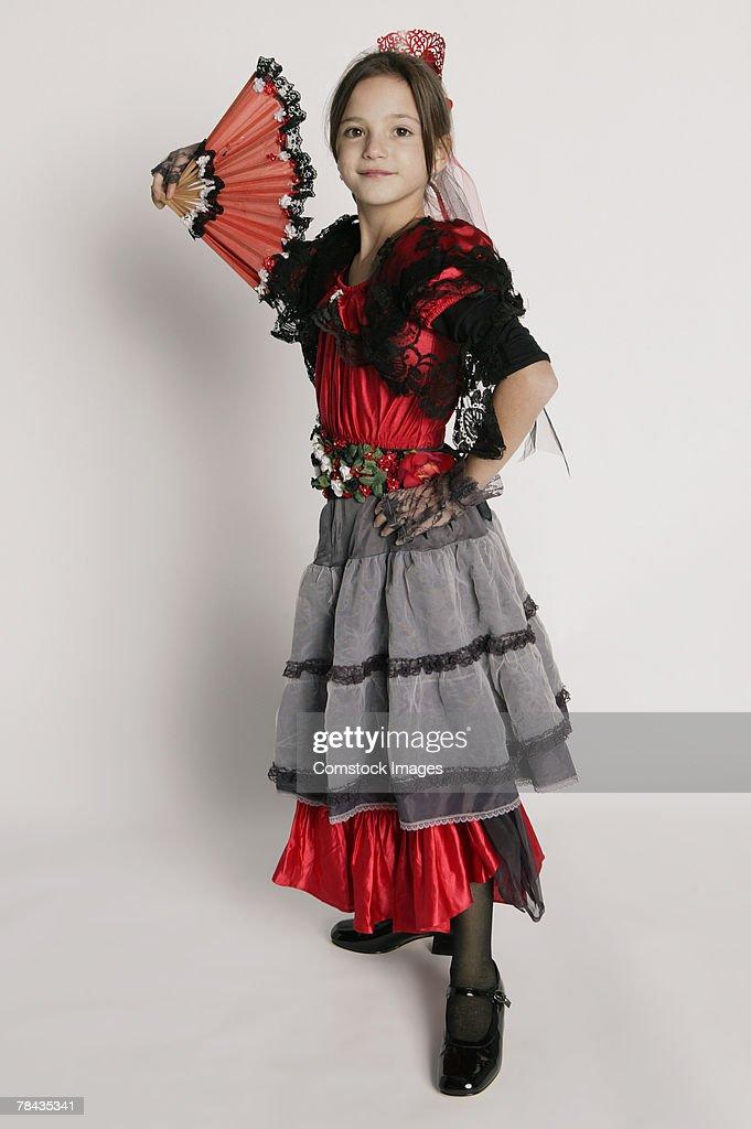 Girl in dancer costume : Stockfoto