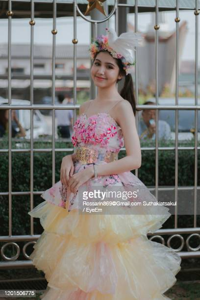 girl in dress made by plastic. - strapless evening gown stock pictures, royalty-free photos & images