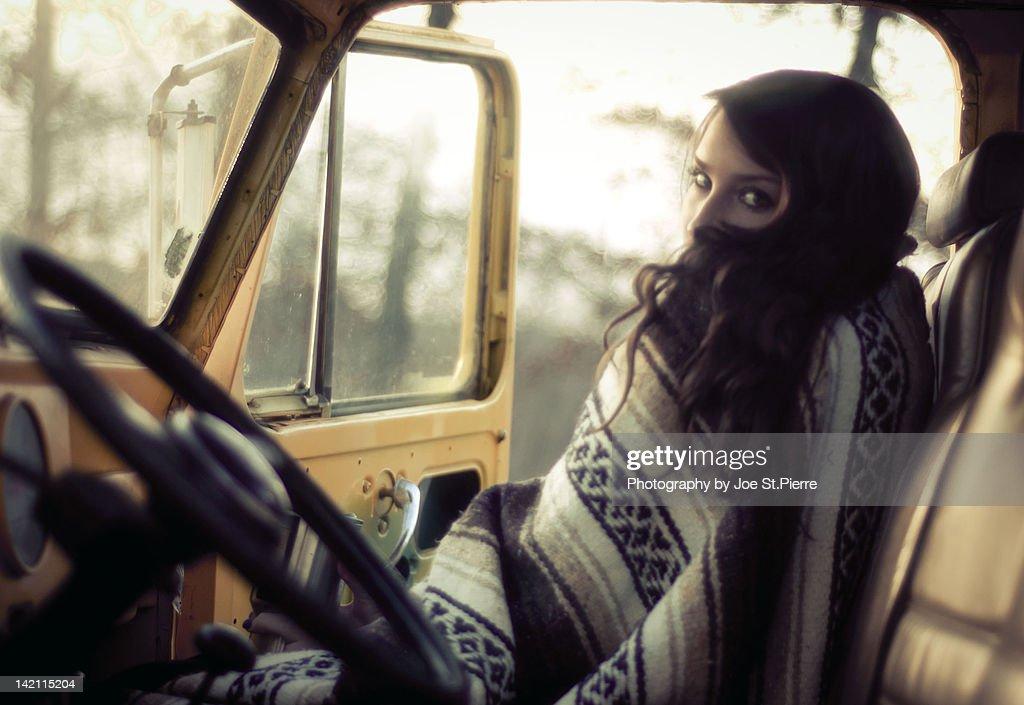 Girl in dune buggy : Stock Photo