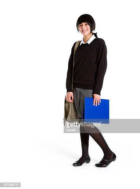 Girl in early teens ready for school