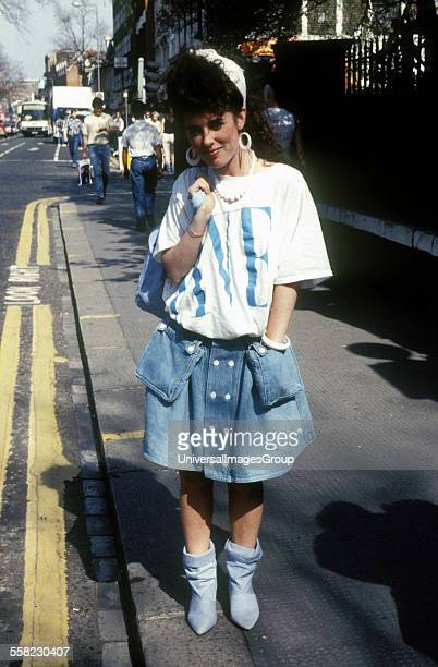 Girl in eighties's fashion wear on the King's Road London 1984