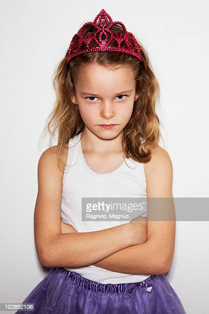 girl in fancy dress costume sulking - prinzessin stock-fotos und bilder