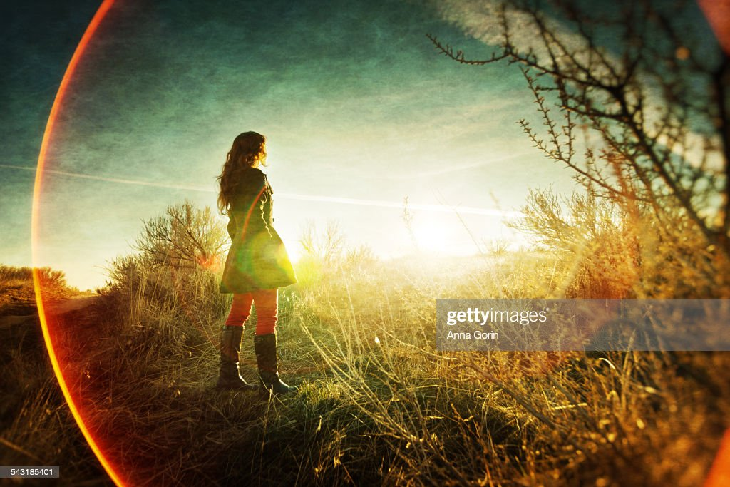 Girl in field looking at sunset, lens flare rings : Stock Photo