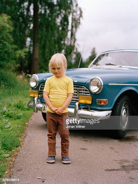 a girl in front of a volvo amazon sweden - volvo stock pictures, royalty-free photos & images
