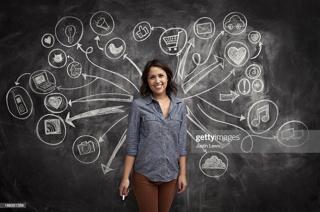 Girl in front of social media icon chalkboard : Foto de stock