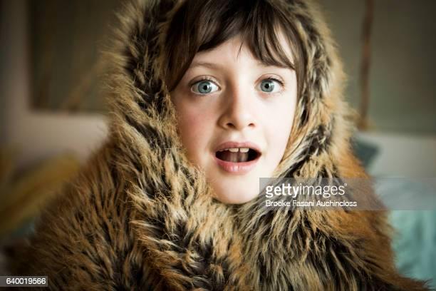 Girl in fur wrap