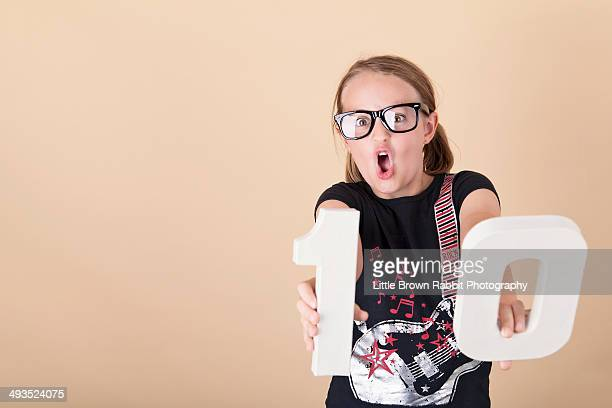 Girl in Geek Glasses Pulling Faces
