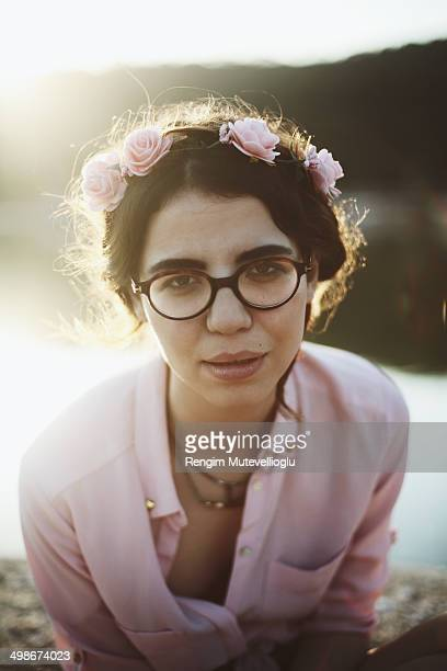 girl in glasses and flower crown - thick rimmed spectacles stock photos and pictures