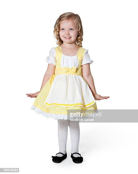 girl (2-3) in goldilocks costume for halloween - little bo peep stock photos and pictures