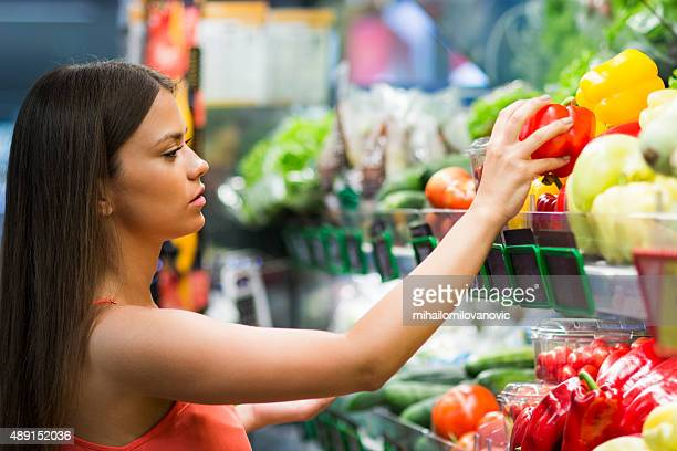 Girl in grocery store