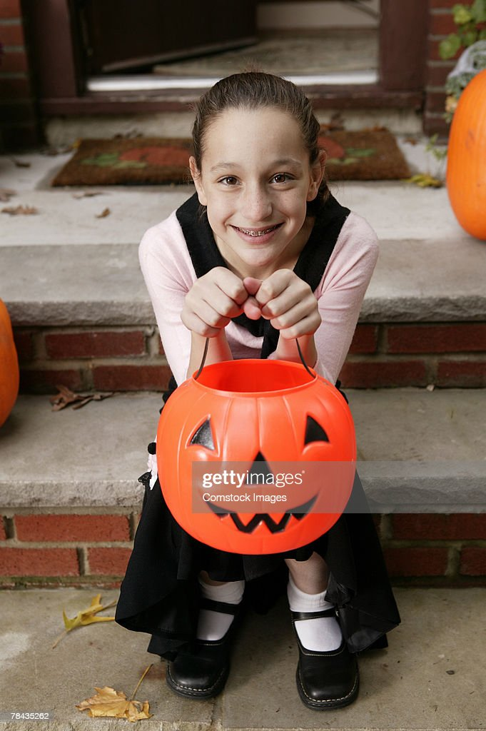 Girl in Halloween costume : Stockfoto