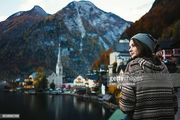 girl in hallstatt - hallstatt stock pictures, royalty-free photos & images