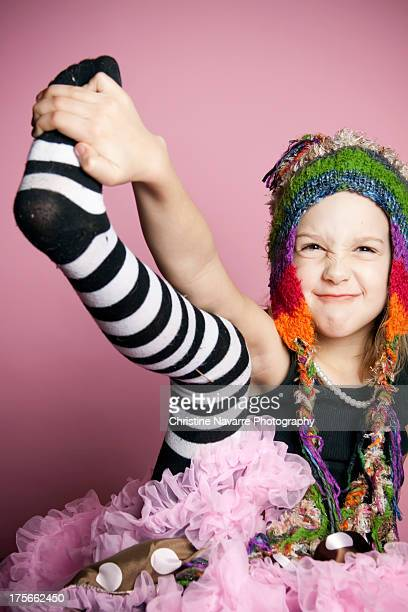 girl in hat - children pantyhose stock photos and pictures