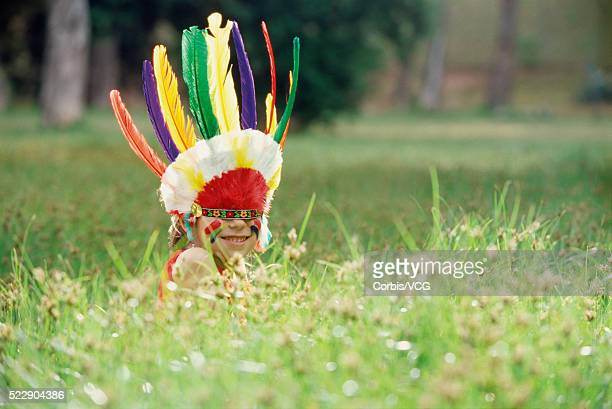 Girl in Indian Costume on Lawn