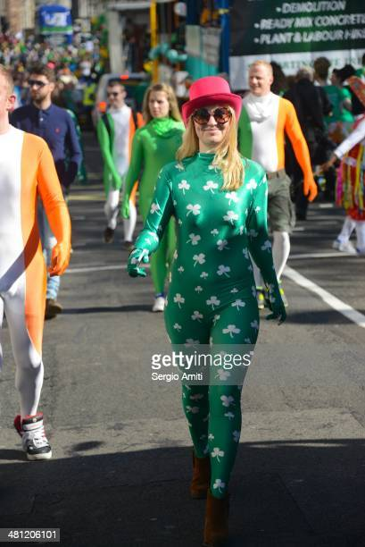 Girl in Irish morphsuit at the Saint Patrick's Day Parade in London