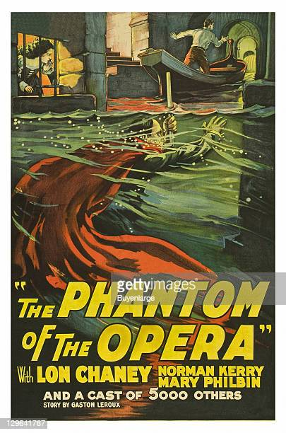 Girl in Jail phantom swims below water in lagoon or river man move along in a gondola on a poster that advertises the movie 'The Phantom of the...