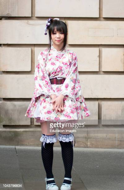 Girl in Japanese Cosplay costume seen in Edinburgh Scotland